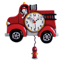 Big Red Fire Engine Pendulum Clock
