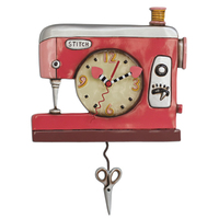 Double Stitch Sewing Machine Red Pendulum Clock