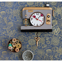 Back Stitch Sewing Machine Green Pendulum Clock