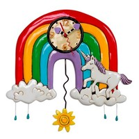Rainbows & Unicorn Pendulum Clock